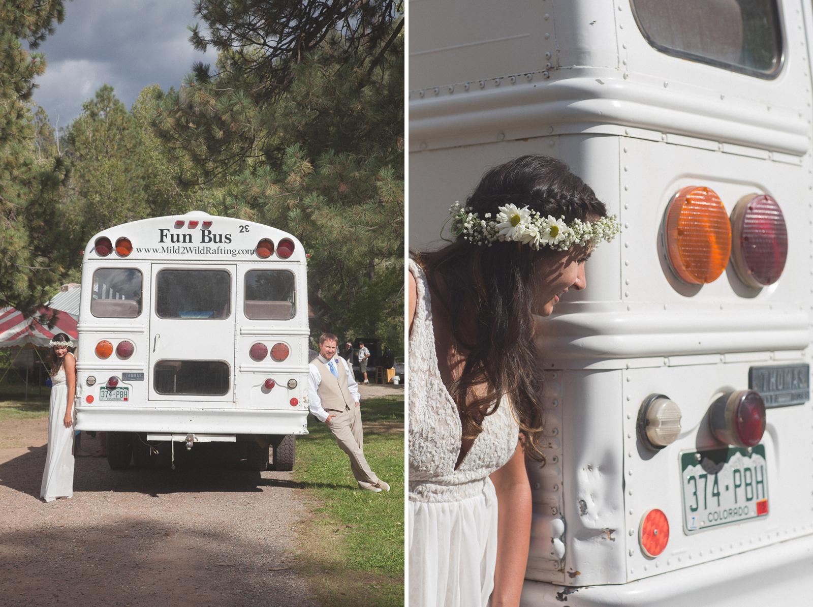 wedding party bus fun photography