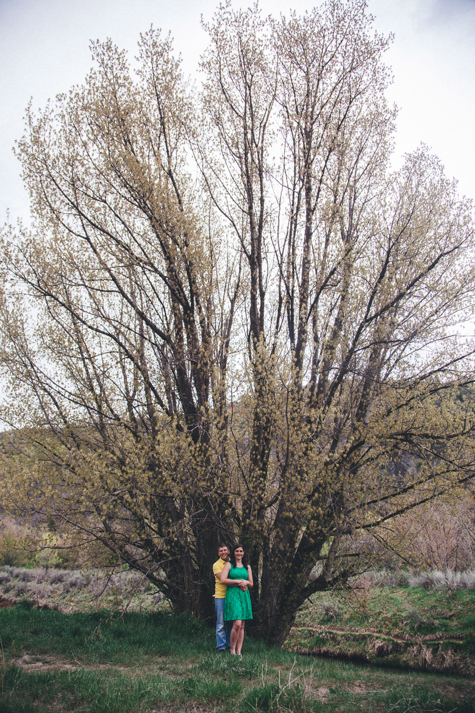 032-engagement-trees-fun-wedding-train-laughing-durango-colorado-farmington-candid