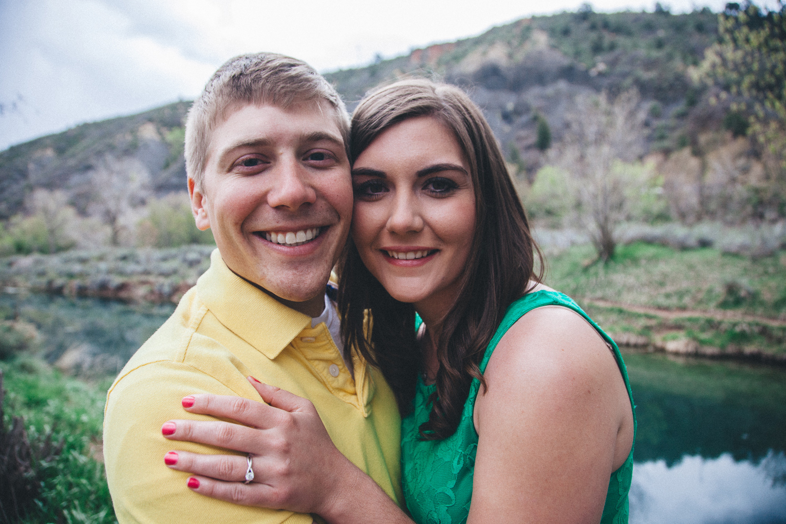 033-engagement-trees-fun-wedding-train-laughing-durango-colorado-farmington-candid