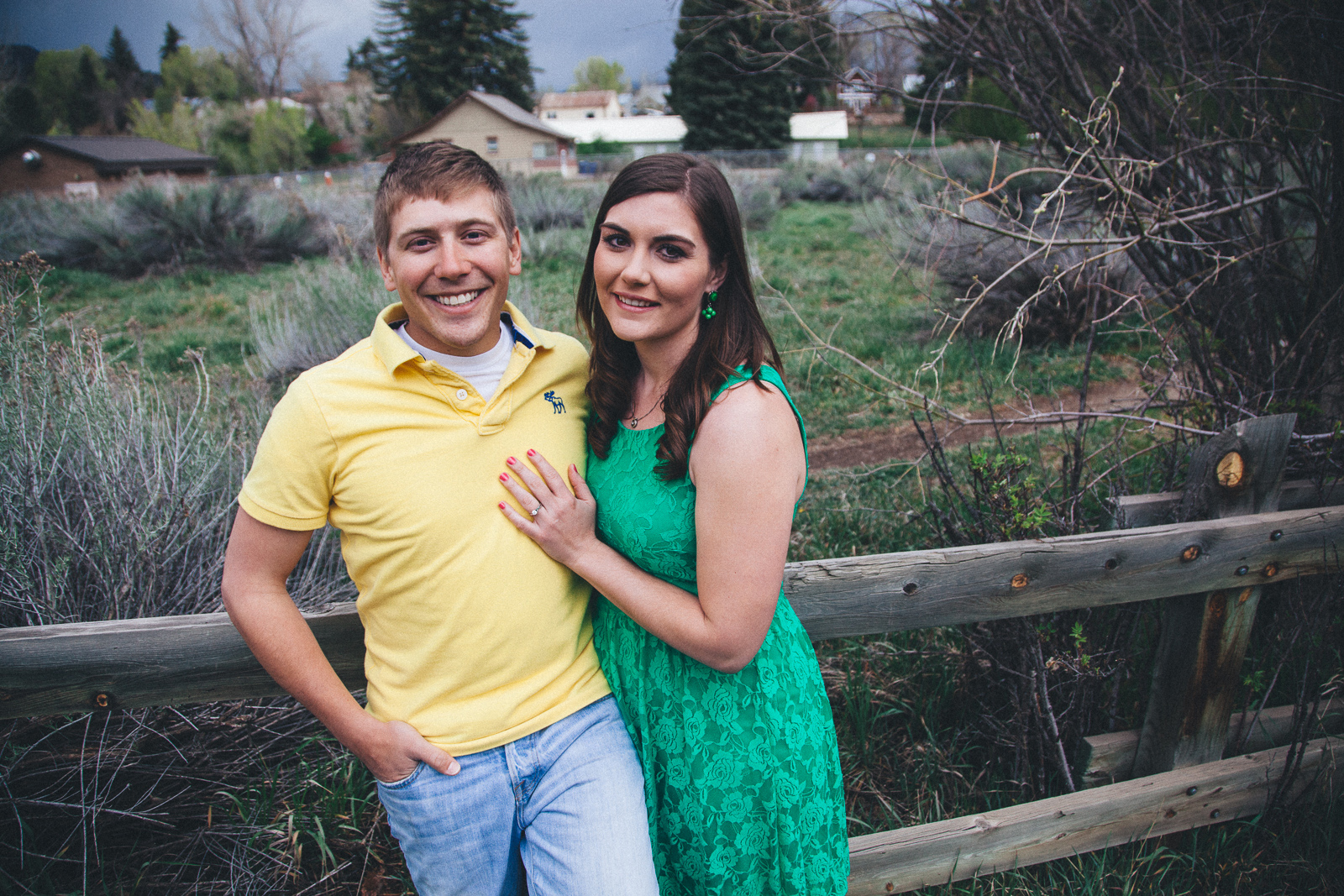048-engagement-trees-fun-wedding-train-laughing-durango-colorado-farmington-candid