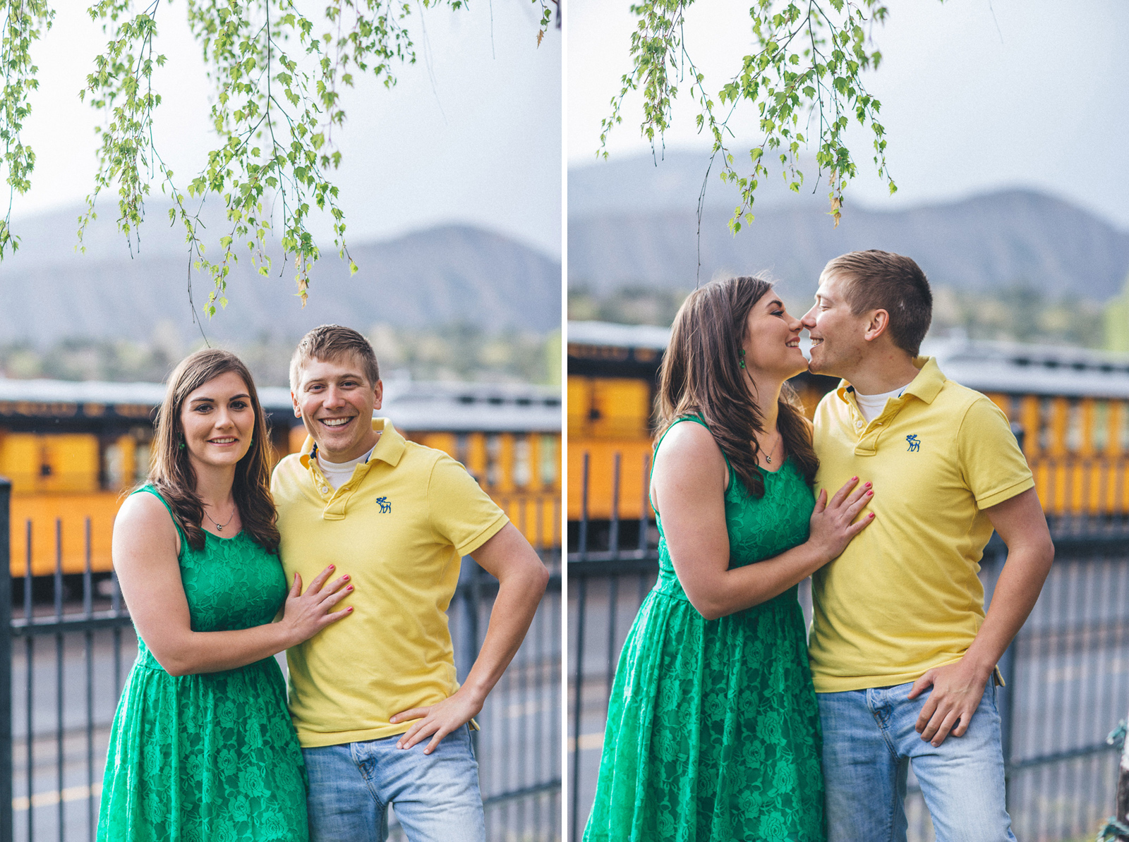 057-engagement-trees-fun-wedding-train-laughing-durango-colorado-farmington-candid-new-mexico