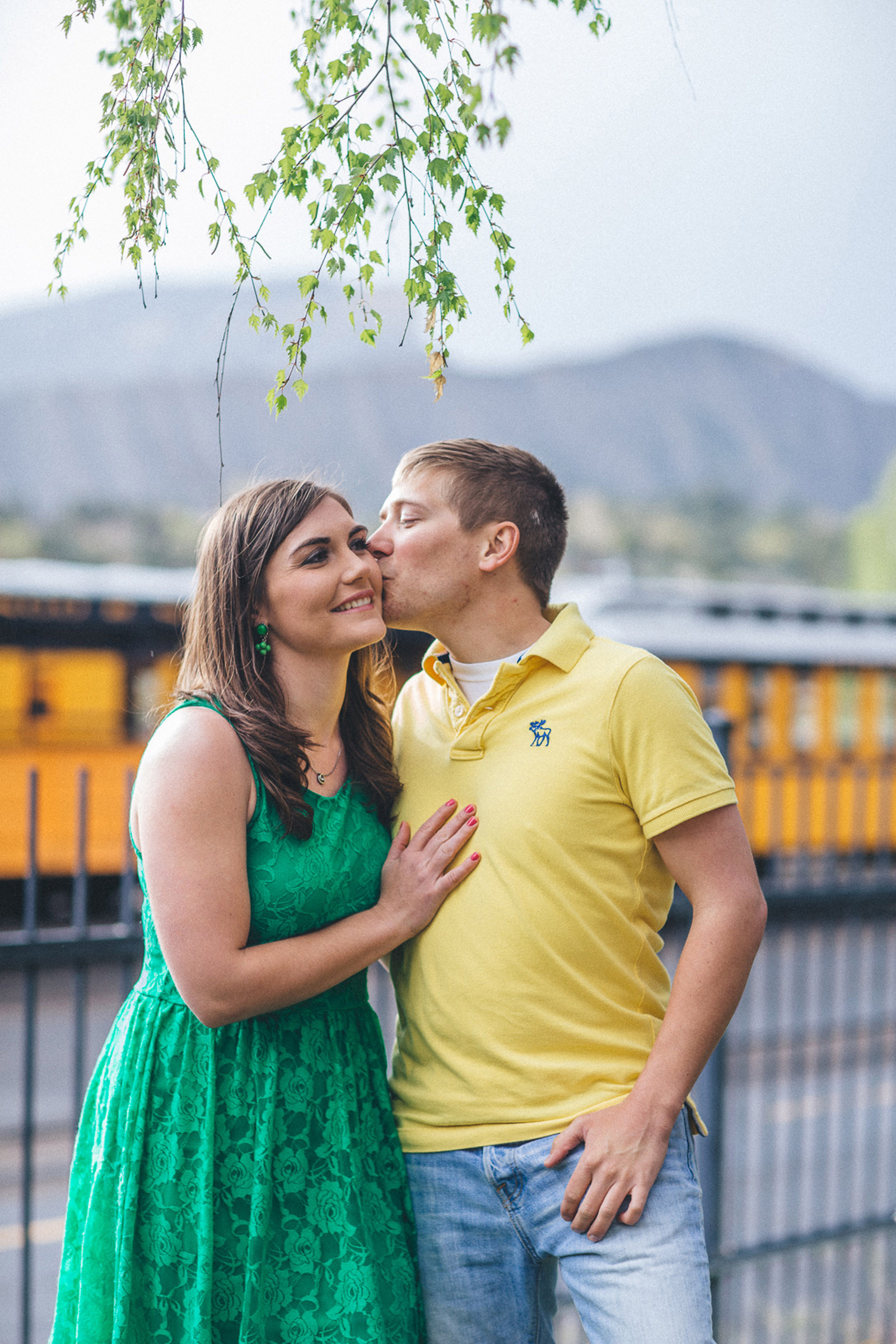 058-engagement-trees-fun-wedding-train-laughing-durango-colorado-farmington-candid-new-mexico