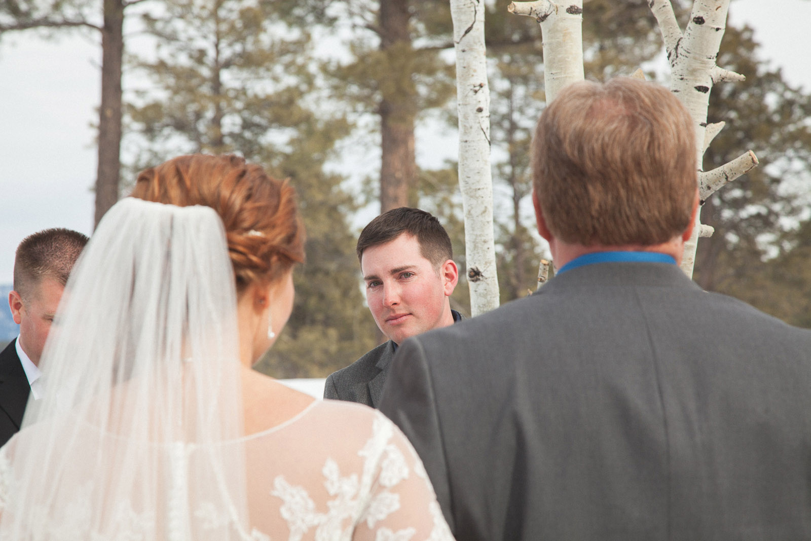 wedding ceremony in pagosa springs wedding photographer snow winter wedding